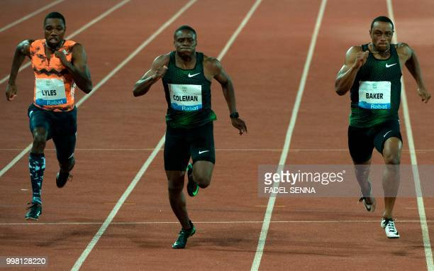USA's Lyles Noha USA's Coleman Christian USA's Baker Ronnie compete during the 100m men's event at the Morocco Diamond League athletics competition...