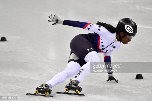 S Maame Biney takes part in the women's 500m short track speed skating heat event during the Pyeongchang 2018 Winter Olympic Games, at the Gangneung...