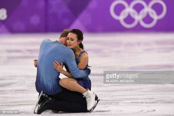 TOPSHOT USA's Madison Chock and USA's Evan Bates compete in the ice dance free dance of the figure skating event during the Pyeongchang 2018 Winter...