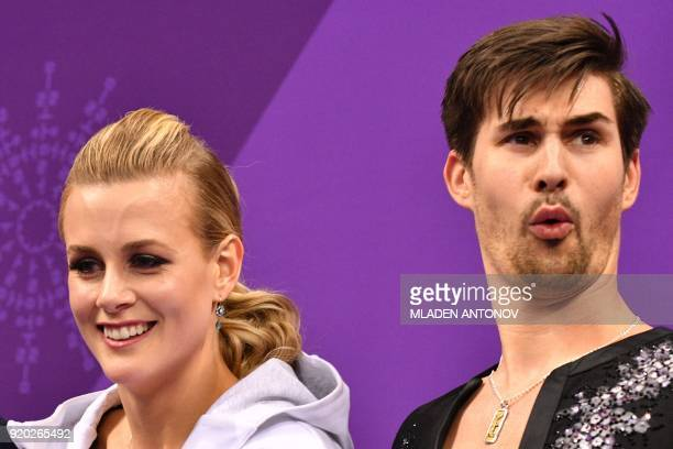 USA's Madison Hubbell and USA's Zachary Donohue react after competing in the ice dance short dance of the figure skating event during the Pyeongchang...