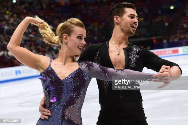 US's Madison Hubbell and Zachary Donohue perform during the Ice Dance Short Dance program at the Milano World Figure Skating Championship 2018 in...