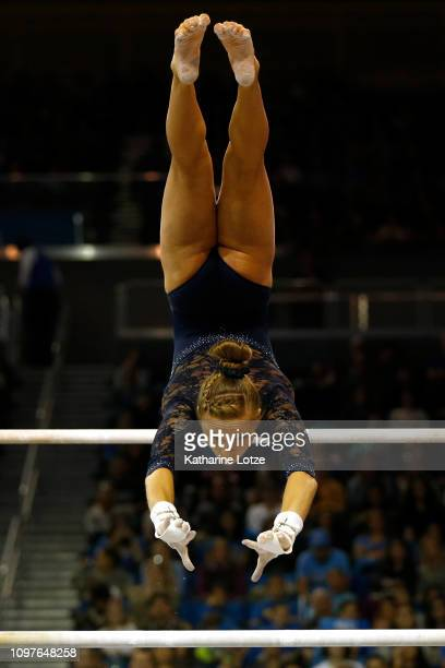 UCLA's Madison Kocian competes on uneven bars during a PAC12 meet against Arizona State at Pauley Pavilion on January 21 2019 in Los Angeles...
