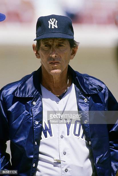 CIRCA 1970's Manager Billy Martin of the New York Yankees on the field before a MLB baseball game circa 1970's Martin managed the Yankees from...