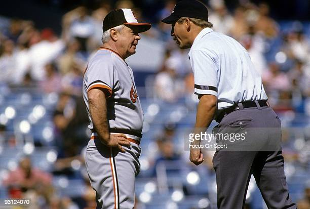 Manager Earl Weaver of the Baltimore Orioles arguing with an umpire during a MLB baseball game circa mid 1970's. Weaver Managed the Orioles from...