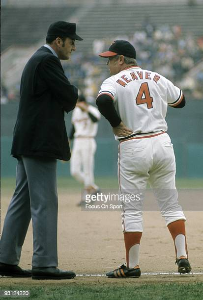 BALTIMORE MD CIRCA 1970's Manager Earl Weaver of the Baltimore Orioles arguing with an umpire during a mid 1970's MLB baseball game at Memorial...