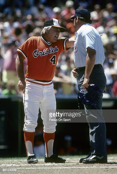 BALTIMORE MD CIRCA 1970's Manager Earl Weaver of the Baltimore Orioles arguing with the home plate umpire during a MLB baseball game circa mid 1970's...