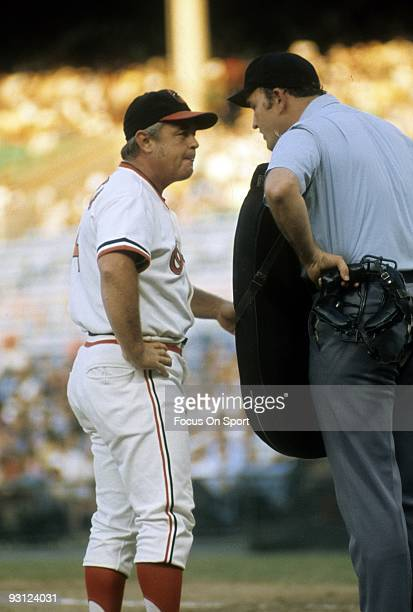 BALTIMORE MD CIRCA 1970's Manager Earl Weaver of the Baltimore Orioles arguing with the home plate umpire during a early 1970's MLB baseball game at...