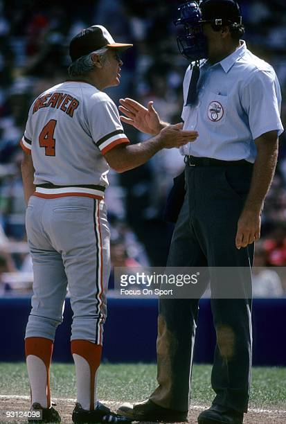 Manager Earl Weaver of the Baltimore Orioles arguing with the home plate umpire during a early 1970's MLB baseball game. Weaver Managed the Orioles...