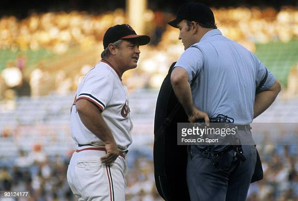 S: Manager Earl Weaver of the Baltimore Orioles arguing with the home plate umpire during a early 1970's MLB baseball game at Memorial Stadium in...