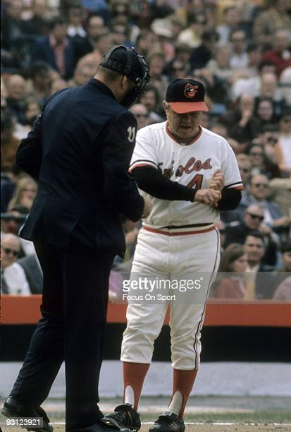 BALTIMORE MD CIRCA 1970's Manager Earl Weaver of the Baltimore Orioles trying to make his point arguing with the home plate umpire during a MLB...