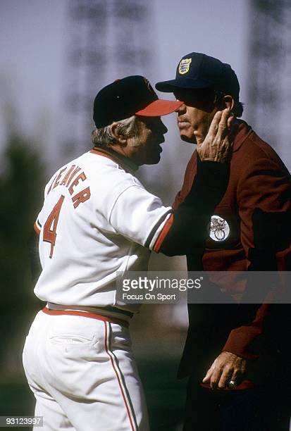 BALTIMORE MD CIRCA 1970's Manager Earl Weaver of the Baltimore Orioles trying to make his point arguing with an umpire during a MLB baseball game...