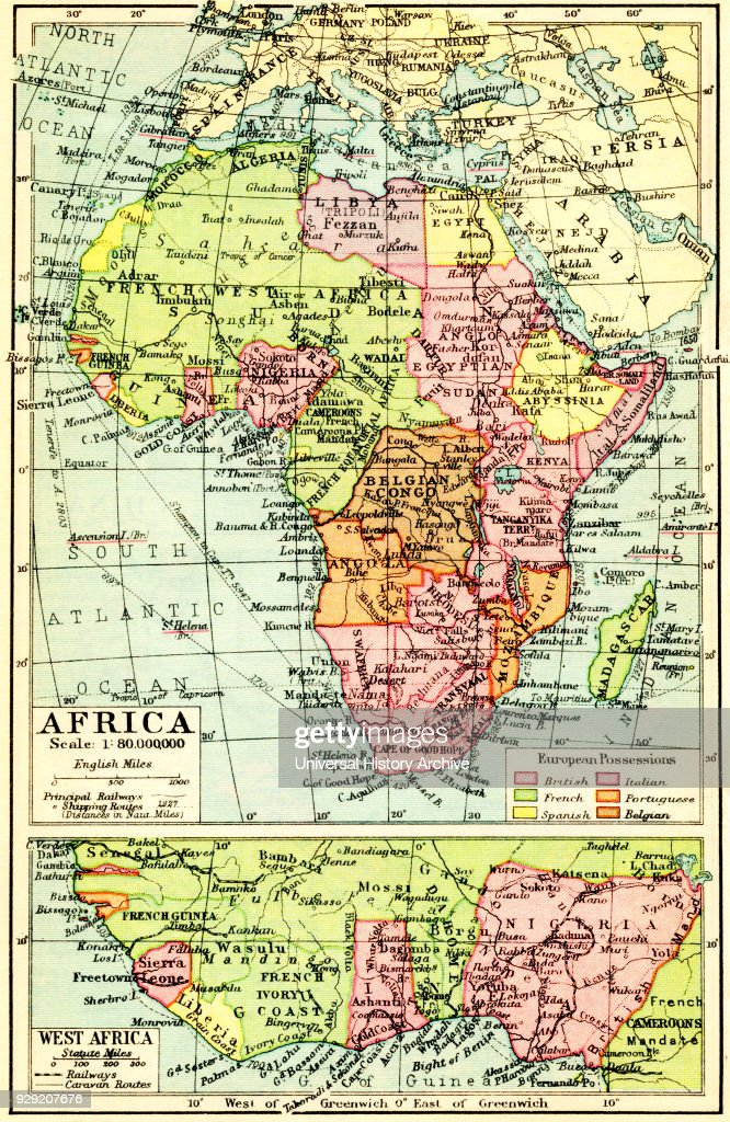 A 1930's map of Africa, top, with detail of west Africa, bottom : News Photo