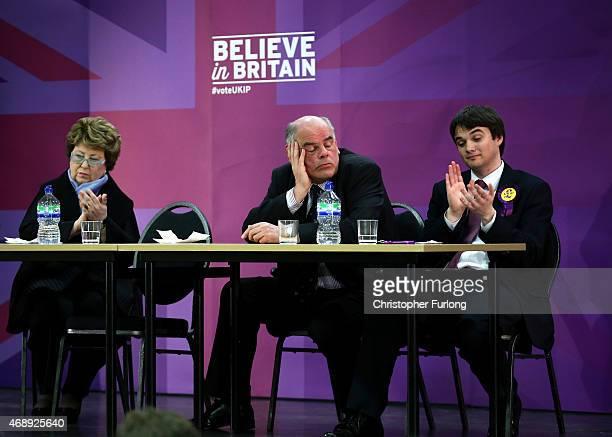 S Margot Parker MEP, Regional Organiser Don Ransome and UKIP candidate Robin Hunter-Clarke listen to United Kingdom Independence Party leader Nigel...
