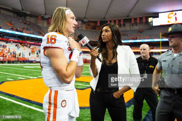 ESPN's Maria Taylor interviews Clemson Tigers Quarterback Trevor Lawrence after the game between the Clemson Tigers and the Syracuse Orange on...