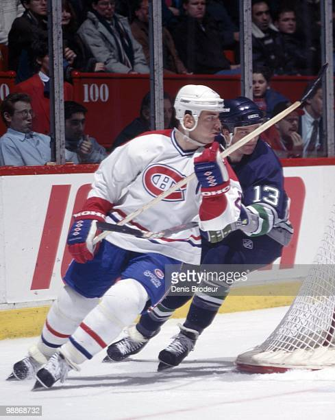 MONTREAL 1990's Mark Recchi of the Montreal Canadiens skates during the 1990's at the Montreal Forum in Montreal Quebec Canada Recchi played for the...