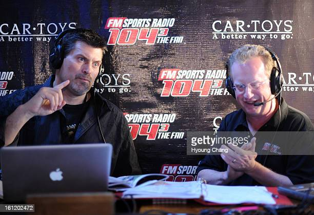 THE FAN's Mark Schlereth left and DMac are broadcasing live from Chopper's sports grill on Friday April 29 2011 Hyoung Chang/ The Denver Post