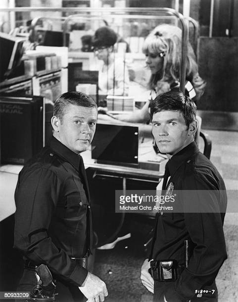 LOS ANGELES EARLY 1970's Martin Milner and Kent McCord costars of the hit 1970's TV show Adam 12 in a promotional shot from the early 1970's in Los...