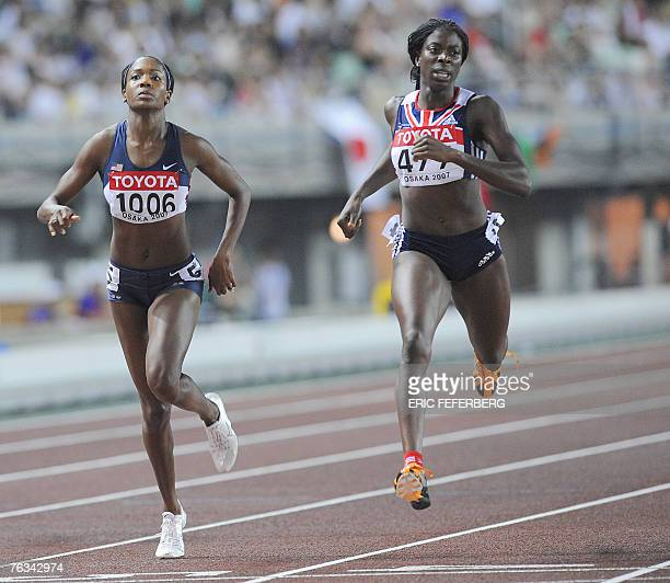 USA's Mary Wineberg and Britain's Christine Ohuruogu compete during the women's 400m semifinals 27 August 2007 at the 11th IAAF World Athletics...