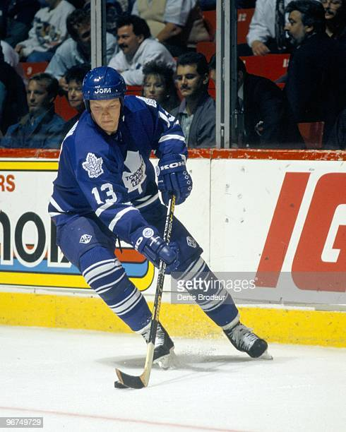 MONTREAL 1990's Mats Sundin of the Toronto Maple Leafs skates with the puck against the Montreal Canadiens in the 1990's at the Montreal Forum in...