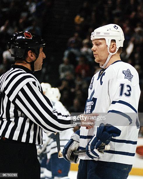 MONTREAL 1990's Mats Sundin of the Toronto Maple Leafs talks to the linesman in the game against the Montreal Canadiens in the 1990's at the Montreal...