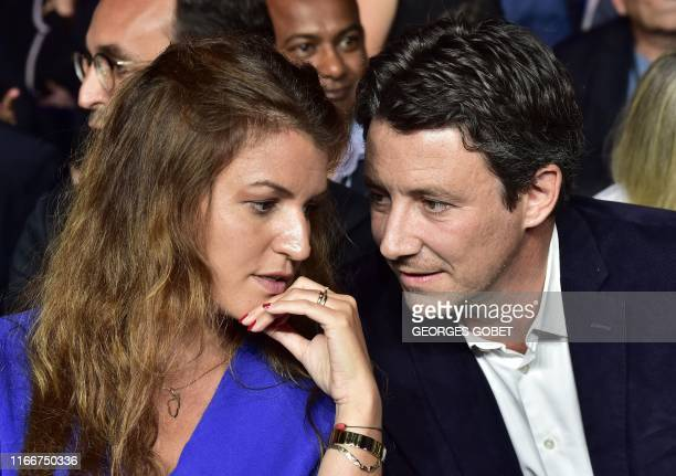 LREM's mayoral election candidate in Paris Benjamin Griveaux speaks with French Junior Minister for Gender Equality Marlene Schiappa as they attend...