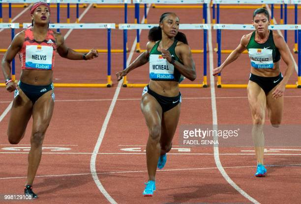 USA's Mcneal Brianna reacts after winning the 100 m hurdles women's event at the Morocco Diamond League athletics competition in the Stadium Prince...