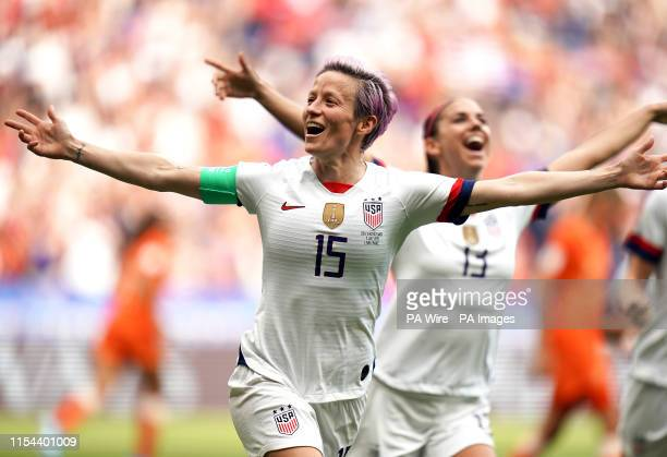 S Megan Rapinoe celebrates scoring her side's first goal of the game during the FIFA Women's World Cup 2019 Final at the Stade de Lyon, Lyon, France.