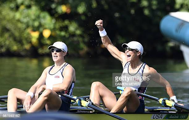USA's Meghan O'leary and USA's Ellen Tomek celebrate after winning the Women's Double Sculls semifinal rowing competition at the Lagoa stadium during...
