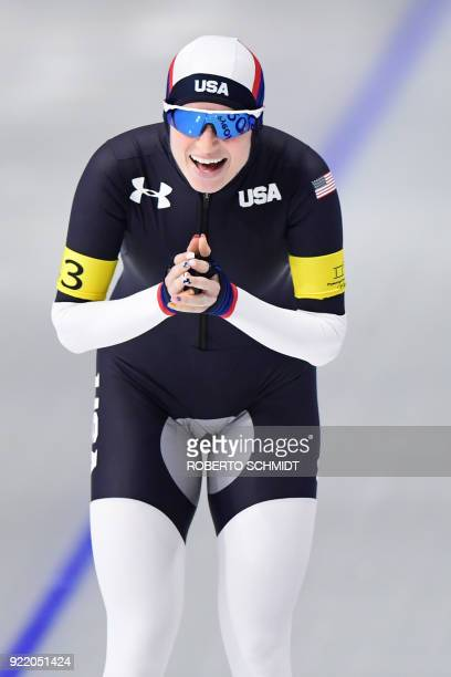 USA's Mia Manganello celebrates after competing in the women's team pursuit final B speed skating event during the Pyeongchang 2018 Winter Olympic...