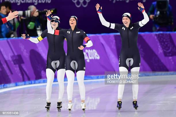 USA's Mia Manganello USA's Brittany Bowe and USA's Heather Bergsma celebrate after competing in the women's team pursuit final B speed skating event...