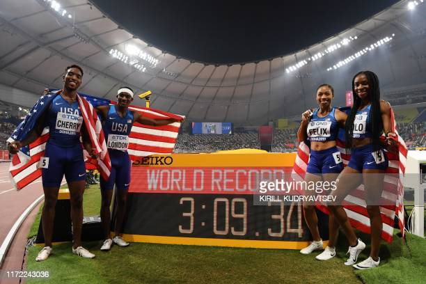 USA's Michael Cherry USA's Wilbert London USA's Allyson Felix and USA's Courtney Okolo react after setting a world record in the Mixed 4 x 400m Relay...