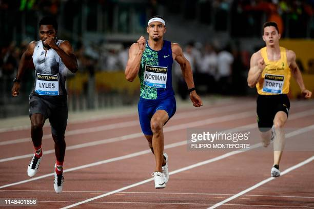 USA's Michael Norman wins the Men's 200m ahead of USA's Noah Lyles during the IAAF Diamond League competition on June 6 2019 at the Olympic stadium...
