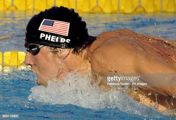 USA's Michael Phelps in the Men's 200m Butterfly final during the FINA World Swimming Championships in Rome Italy