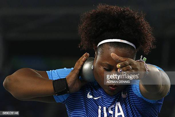 USA's Michelle Carter competes in the Women's Shot Put Final during the athletics event at the Rio 2016 Olympic Games at the Olympic Stadium in Rio...