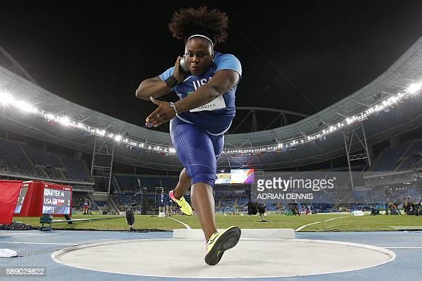 S Michelle Carter competes in the Women's Shot Put Final during the athletics event at the Rio 2016 Olympic Games at the Olympic Stadium in Rio de...