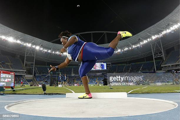 TOPSHOT USA's Michelle Carter competes in the Women's Shot Put Final during the athletics event at the Rio 2016 Olympic Games at the Olympic Stadium...
