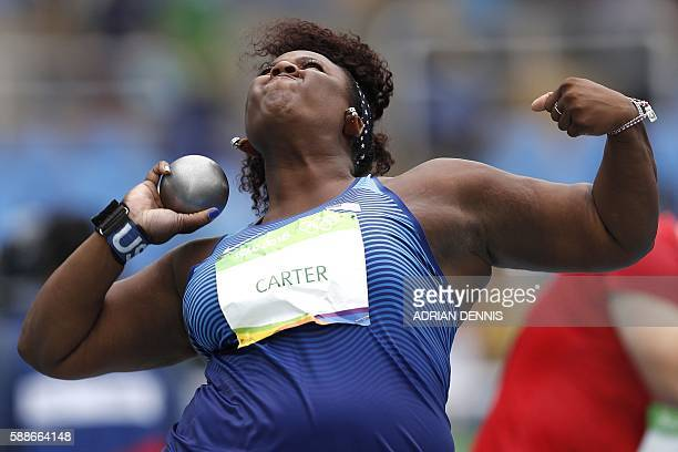 TOPSHOT USA's Michelle Carter competes in the Women's Shot Put Qualifying Round during the athletics event at the Rio 2016 Olympic Games at the...