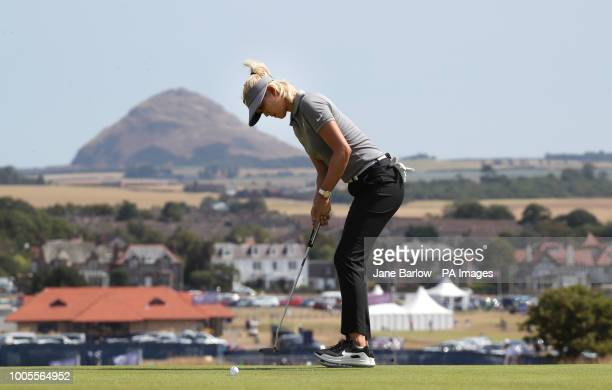 USA's Michelle Wie putts on the first green during day one of the 2018 Aberdeen Standard Investments Ladies Scottish Open at Gullane Golf Club