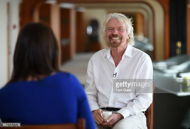 CNBC's Middle East anchor Hadley Gamble and Sir Richard Branson Founder Virgin Group and Chairman Virgin Hyperloop One attend DP World Cargospeed...