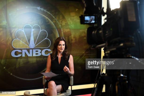 CNBC's Middle East anchor Hadley Gamble at the new Middle East Headquarters Abu Dhabi Global Market on April 15 2018 in Abu Dhabi United Arab Emirates