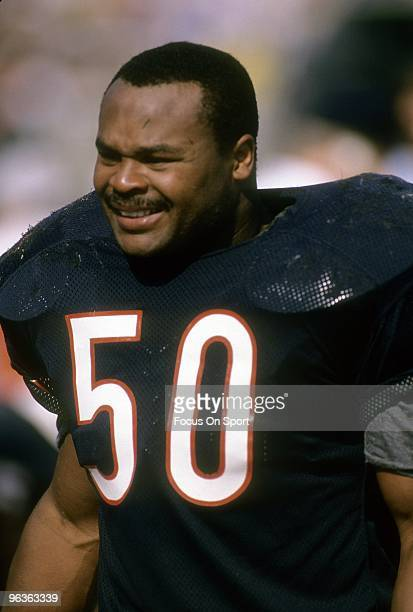 CHICAGO IL CIRCA 1980's Middle Linebacker Mike Singletary of the Chicago Bears watches the action from the sidelines during a circa late 1980's NFL...