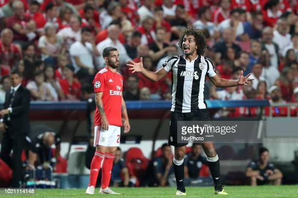 PAOK's midfielder Amr Warda from Egypt celebrates after scoring a goal during the UEFA Champions League playoff first leg match SL Benfica vs PAOK FC...