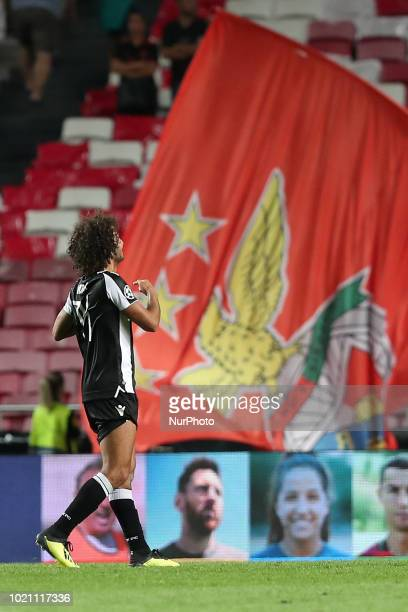 PAOK's midfielder Amr Warda from Egypt celebrates after the UEFA Champions League playoff first leg match SL Benfica vs PAOK FC at the Luz Stadium in...