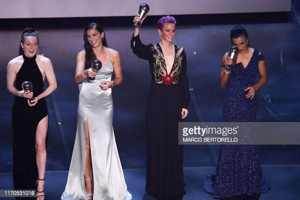 USA's midfielder Rose Lavelle US and Orlando Pride forward Alex Morgan US and Reign FC midfielder Megan Rapinoe and Brazil and Orlando Pride forward...
