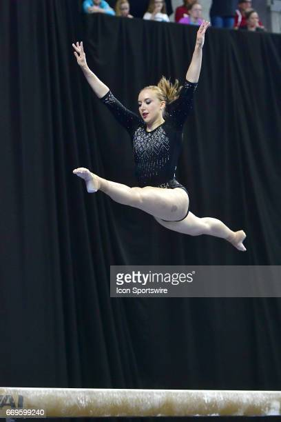 UCLA's Mikaela Gerber peforms on the balance beam during the finals of the NCAA Women's Gymnastics National Championship on April 15 at Chaifetz...