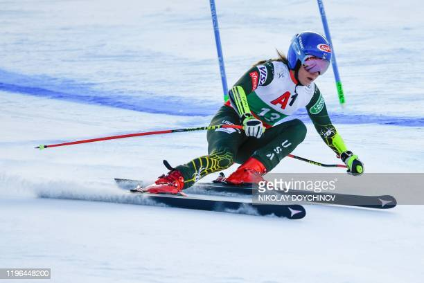 S Mikaela Shiffrin competes during the women's Super-G event at the FIS ski alpine World Cup in Bansko on January 26, 2020.