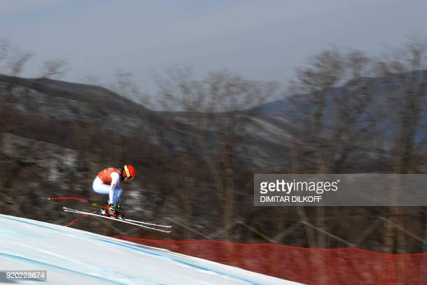 TOPSHOT USA's Mikaela Shiffrin competes in the 2nd training of the Alpine Skiing Women's Downhill at the Jeongseon Alpine Center during the...