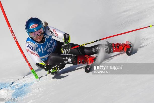 TOPSHOT USA's Mikaela Shiffrin competes in the first run of the Women's Giant Slalom event of the FIS Alpine skiing World Cup in Plan de Corones...