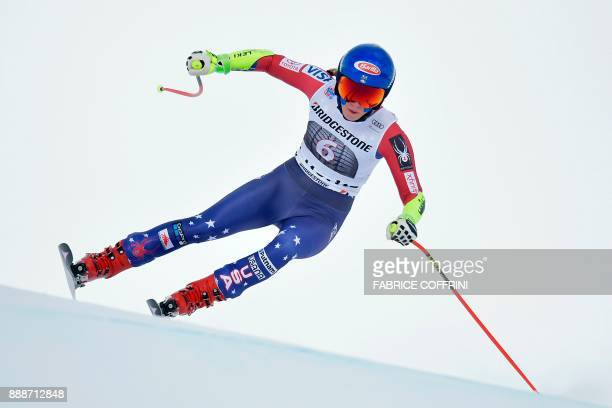 USA's Mikaela Shiffrin competes in the Ladies' SuperG race during the FIS Alpine Skiing World Cup in St Moritz on December 9 2017 / AFP PHOTO /...