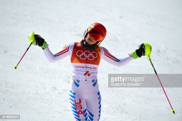 TOPSHOT USA's Mikaela Shiffrin reacts after competing in the Women's Slalom at the Jeongseon Alpine Center during the Pyeongchang 2018 Winter Olympic...